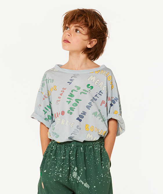 Rooster Oversize Kids T-Shirt - Blue Words