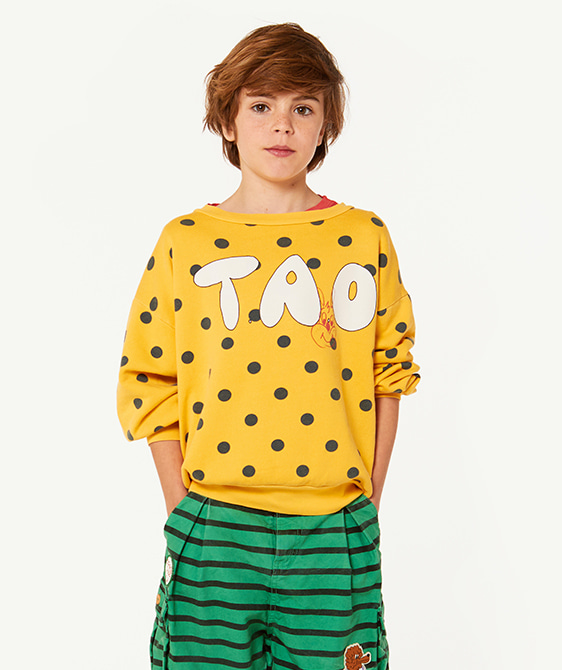 Bear Kids Sweatshirt - Yellow Polka Dots