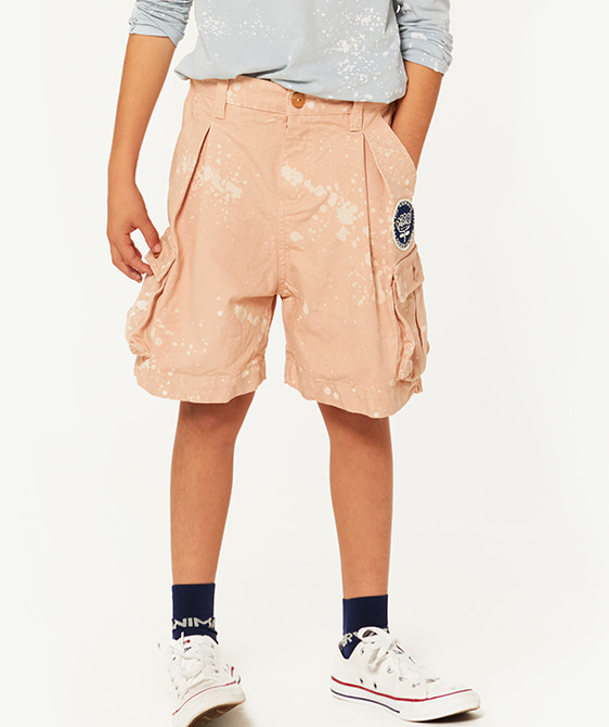 Pig Kids Bermudas - Toasted Almond Splashes