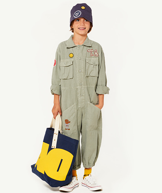 Grasshopper Kids Jumpsuit - Green Dog