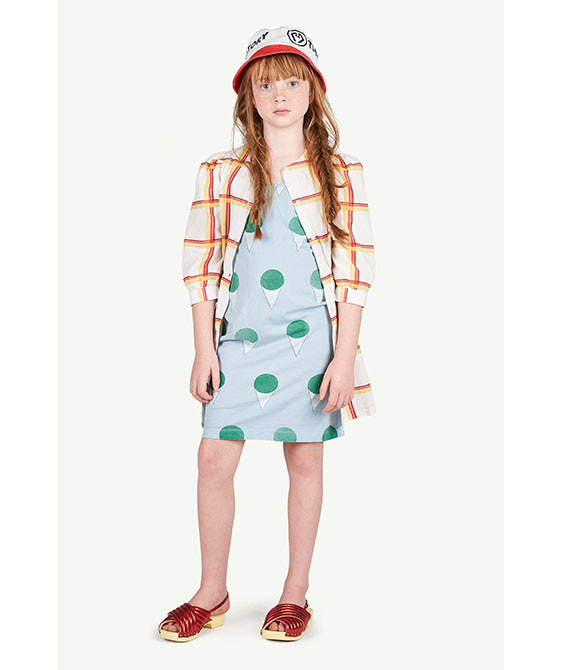 Squares Tortoise Kids Dress - 001182_060_OX