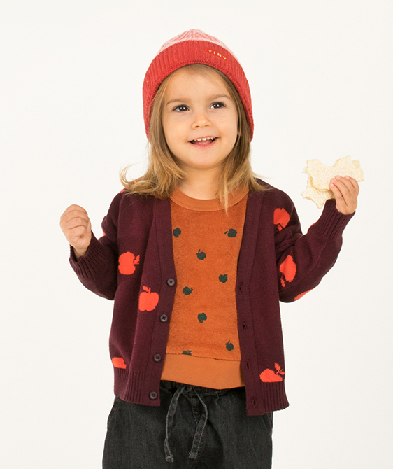 Apples Cardigan - Aubergine/Red