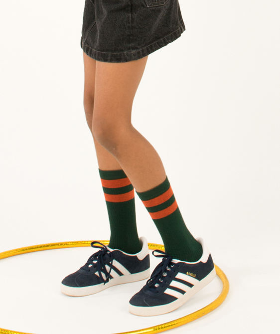 Stripes High Socks - Bottle Green/Red