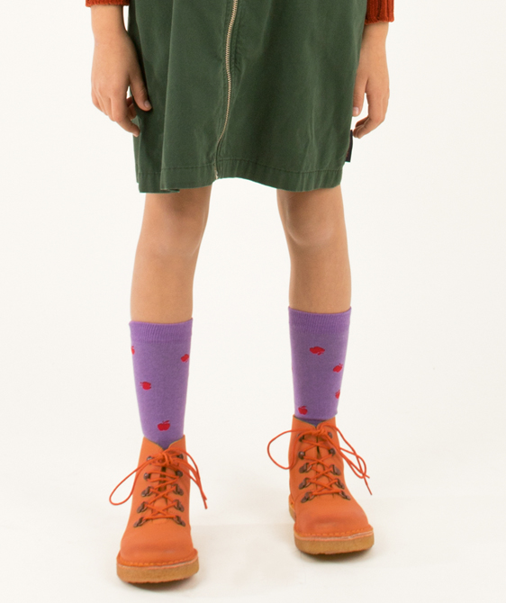 Apples High Socks - Dark Lilac/Burgundy