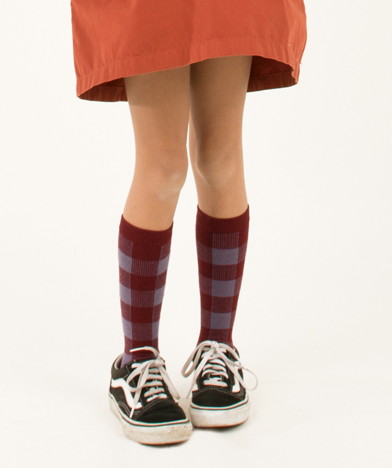 Check High Socks - Dark Lilac/Burgundy