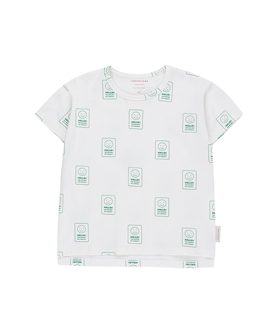 'Hello' Ss Tee - Off-White/Deep Green