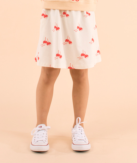 'Candy Apples' Short Skirt - Off-White/Red