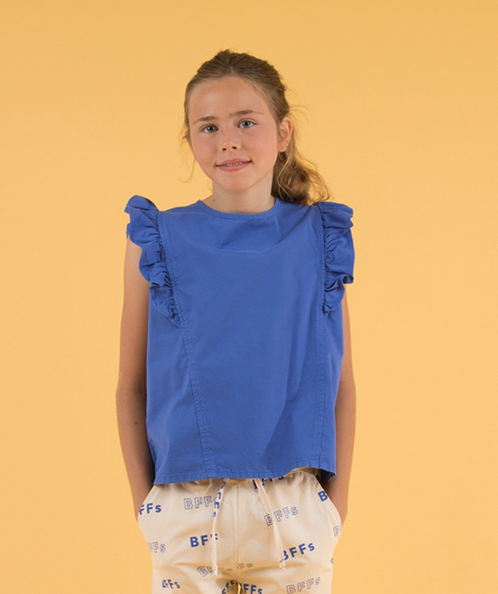 'Happy Face' Ruffles Blouse - Ultramarine/Red