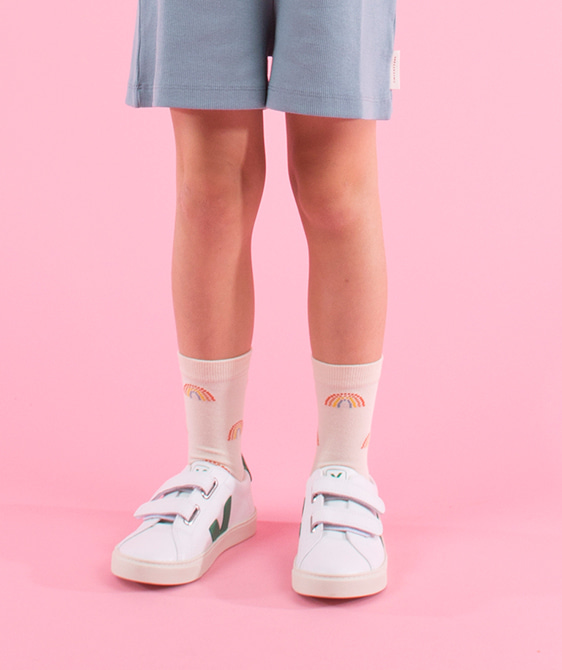 Rainbow Medium Socks - Cream ★ONLY 10Y★