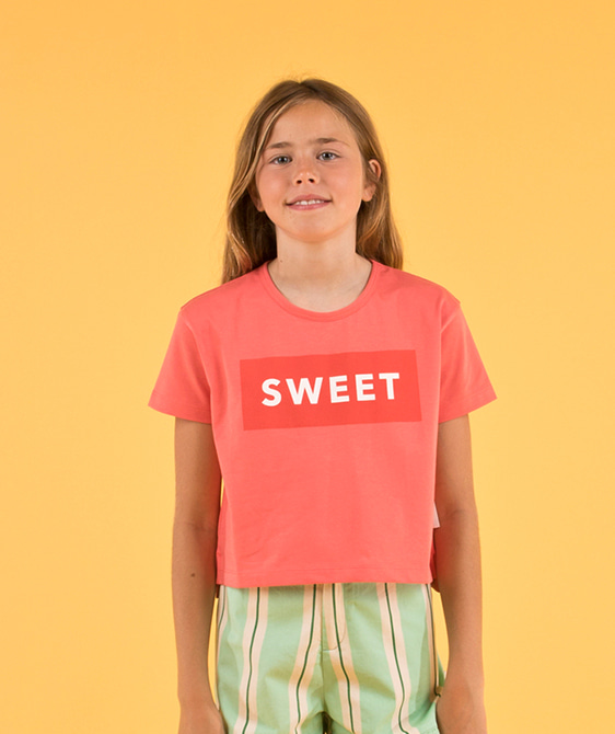 'Sweet' Ss Crop Tee - Light Red/Red