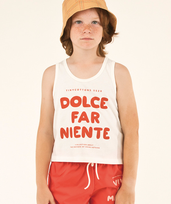Dolce Far Niente Tank Top - Off-White/Red ★ONLY 8Y★