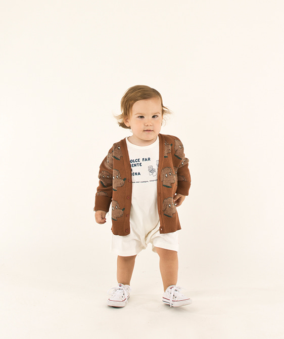 Dogs Cardigan (Baby/Kid) - Dark Brown/Cinnamon