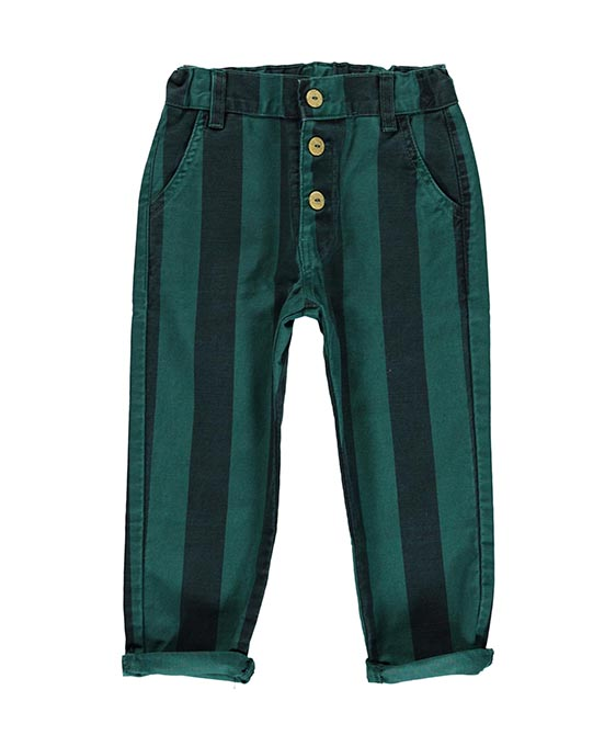 Unisex Trousers With Buttons - Emerald & Grey Stripes