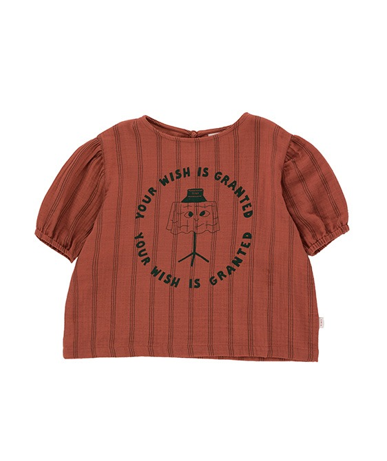 ◆3DROP◆ Your Wish Puff Shirt - Maroon/Ink Blue