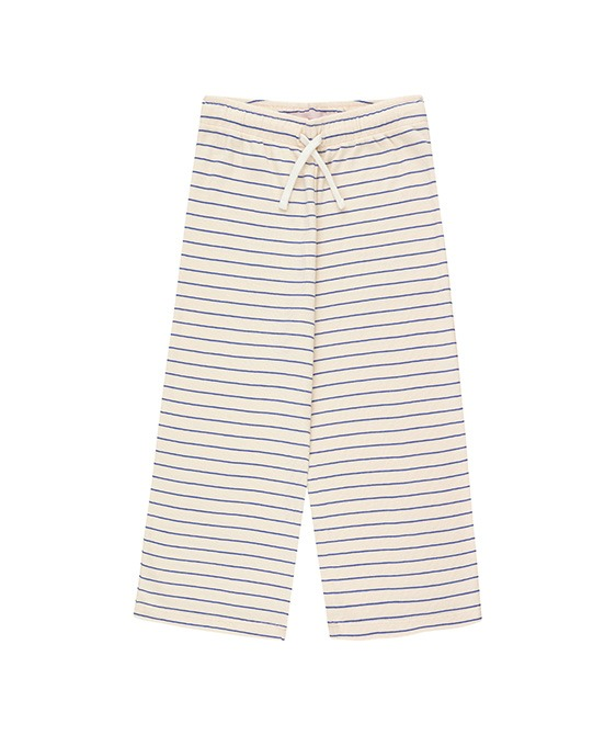 ◆3DROP◆ Stripes Straight Sweatpant - Light Cream/Iris Blue