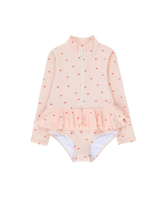 ◆3DROP◆ Starfish Frills LS Swim - Pastel Pink/Red