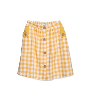 Button Skirt - Canary Check ★ONLY 5-6Y★
