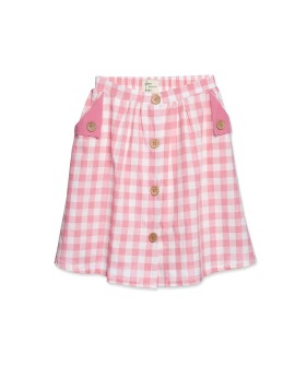 Button Skirt - Rose Check