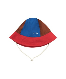 ◆2DROP◆ Tiny Color Block Bucket Hat - Nut Brown/Red ★ONLY L★
