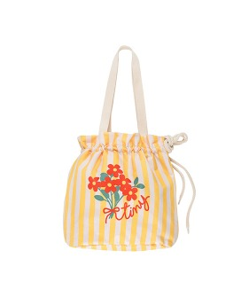 ◆3DROP◆ Tiny Flowers Beach Bag - Yellow/Light Cream