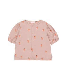 ◆4DROP◆ Ice Cream Cup Puff Shirt - Dusty Pink/Light Papaya