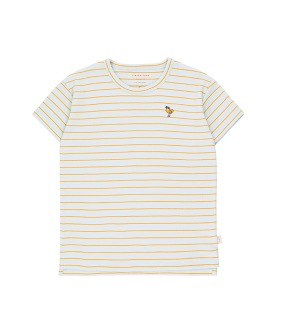 ◆2DROP◆ Bird Stripes Tee - Light Blue Grey/Honey